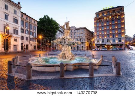 The Triton Fountain is located in Rome in Piazza Barberini. It is the work of Gian Lorenzo Bernini. It was made entirely of travertine marble in 1625.
