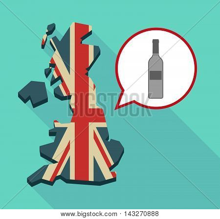 Long Shadow United Kingdom Map With A Comic Balloon And A Bottle Of Wine