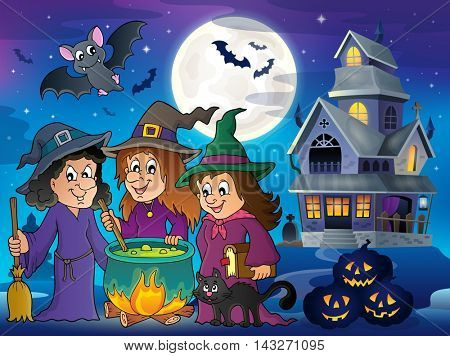 Three witches theme image 6 - eps10 vector illustration.