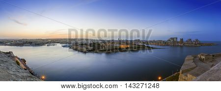 Panoramic view of Malta and Fort Manoel from Valletta at blue hour - Malta