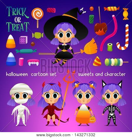 Vector set of characters and sweets for Halloween in cartoon style. Candy corn, witch, devil, skeleton, mummy and other traditional elements. Children in costumes for holiday. Set of candies.