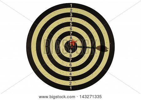 Hitting target reaching goal, isolated on white