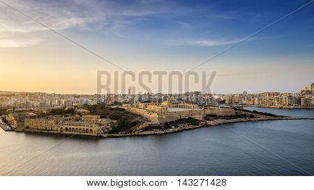 Panoramic view of Malta from Valletta at sunset - Malta