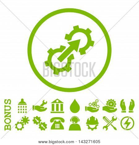 Gear Integration glyph icon. Image style is a flat pictogram symbol inside a circle, eco green color, white background. Bonus images are included.