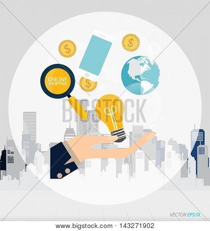 Business concept. Hand with business items (mobile phone, globe, money coins, light bulb). Infographics background E-commerce