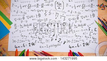 Maths against students desk