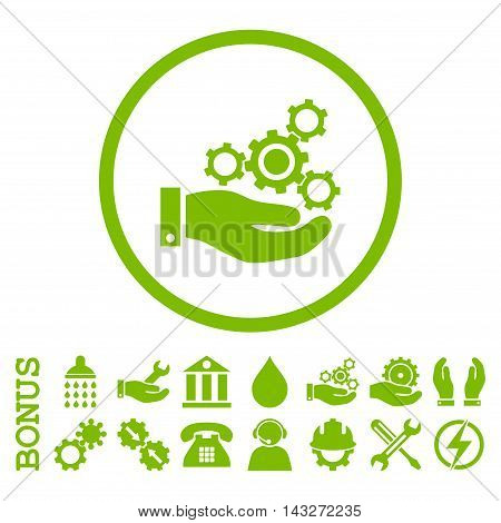 Mechanics Service glyph icon. Image style is a flat pictogram symbol inside a circle, eco green color, white background. Bonus images are included.