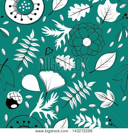 Beautiful autumn leaves flowers and twigs pattern. vector illustration
