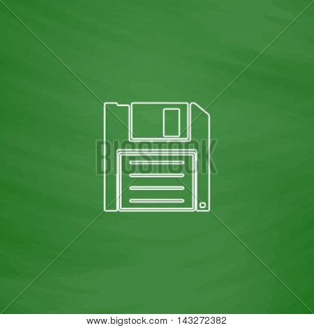 Floppy disk Outline vector icon. Imitation draw with white chalk on green chalkboard. Flat Pictogram and School board background. Illustration symbol