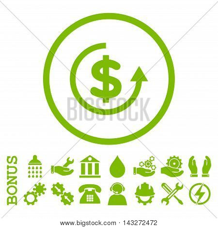 Refund glyph icon. Image style is a flat pictogram symbol inside a circle, eco green color, white background. Bonus images are included.