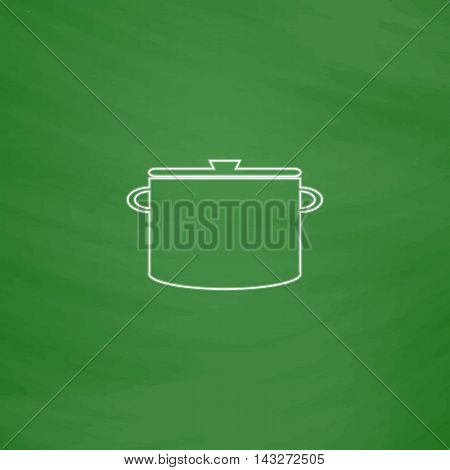Saucepan Outline vector icon. Imitation draw with white chalk on green chalkboard. Flat Pictogram and School board background. Illustration symbol