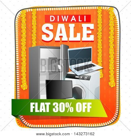 Diwali Sale Flyer, Flat Discount Offer Banner, Sale Poster, 30% Off, Creative promotional background with electronic appliances, Vector illustration for Indian Festival celebration.