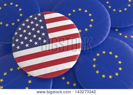 USA And The European Union: US Flag And EU Flag Badges 3d illustration