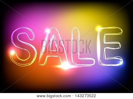 Word Sale on colorful neon background, vector illustration