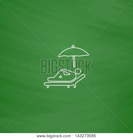 lounger Outline vector icon. Imitation draw with white chalk on green chalkboard. Flat Pictogram and School board background. Illustration symbol