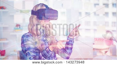 Pretty casual worker using oculus rift against view of office interior with sticky note on window
