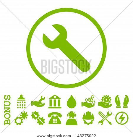 Wrench glyph icon. Image style is a flat pictogram symbol inside a circle, eco green color, white background. Bonus images are included.