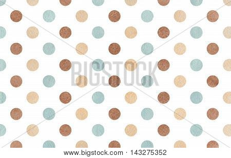 Watercolor Brown, Beige And Blue Polka Dot Background.