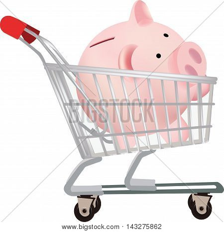 shopping cart with piggy bank shopping cart from the mall with pig piggy bank form
