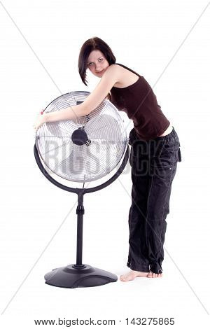 Floor fan with girl on a white background