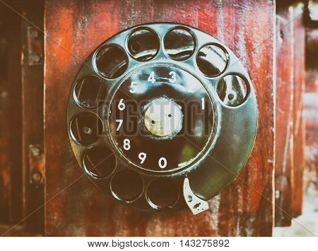 Vintage Wooden phone with dial circle pad