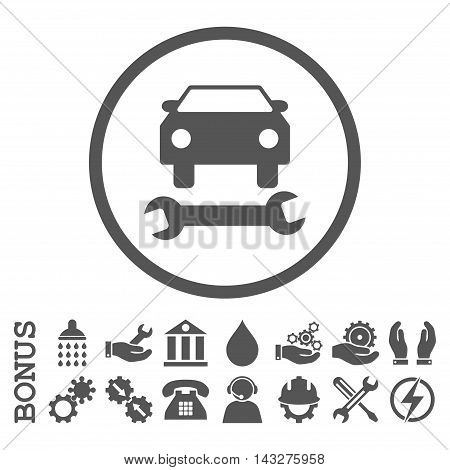 Car Repair glyph icon. Image style is a flat pictogram symbol inside a circle, gray color, white background. Bonus images are included.