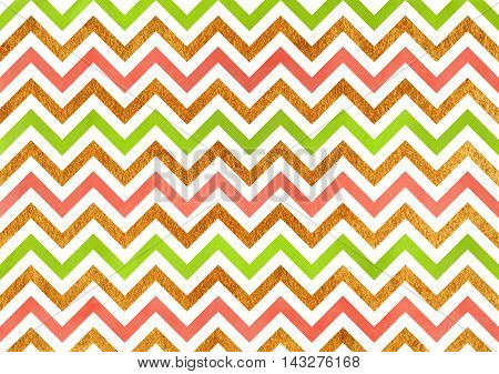 Watercolor Strawbery Red, Lime Green And Golden Stripes Background, Chevron.