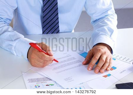 businessman working at a desk computer graphics.