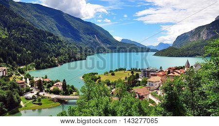 Amazing view of Molveno blue lake in Trentino Alto Adidge province northern Italy