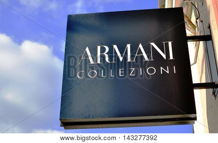 MINSK BELARUS - OCTOBER 4: Logotype of Armani Collezioni store in the street of Minsk on October 4 2014. Armani Collezioni is an italian world famous fashion brand.