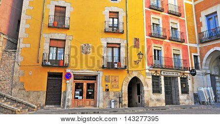 CUENCA SPAIN - JANUARY 4: View of the yard in city centre of Cuenca on January 4 2013. Cuenca is a city in the autonomous community of Castile