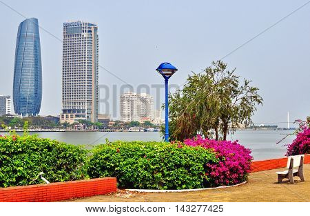 DA NANG VIETNAM - MARCH 19: Panorama of Da Nang city skyline on March 19 2015. Da Nang is the third largest city of Vietnam.