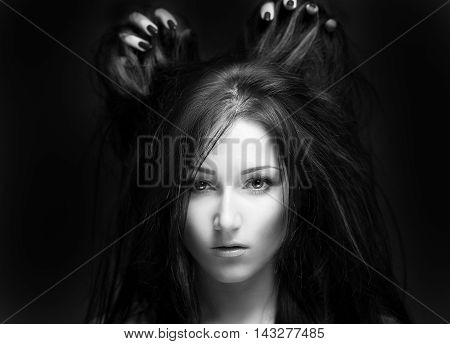Beautiful Girl With Hands In Hair