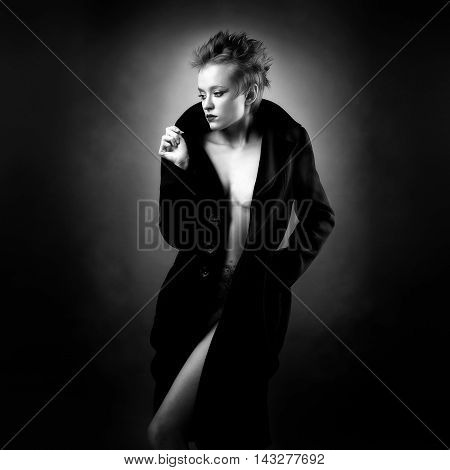 Portrait Of A Beautiful Lady In An Elegant Coat