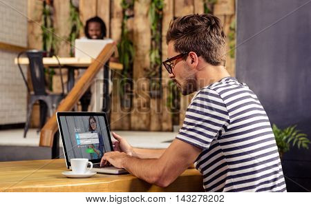 Login with Smiling glasses woman and pad against man using laptop