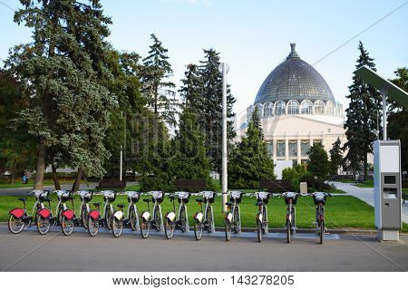 Bicycles for hire and payment terminal at VDNKh in Moscow, Russia