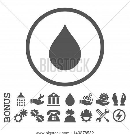 Drop glyph icon. Image style is a flat pictogram symbol inside a circle, gray color, white background. Bonus images are included.
