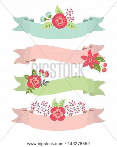 Set of colorful ribbons banners wit flowers