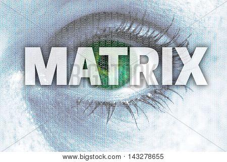 Matrix eye looks at viewer concept background