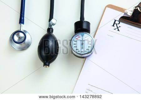 Blood pressure meter medical equipment isolated on white.