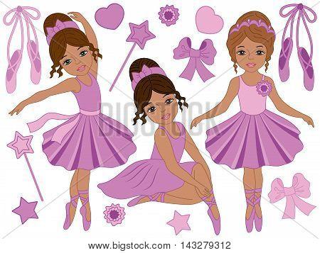 Set of 3 beautiful african american ballerinas in purple dresses