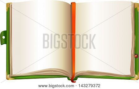 template of an open book in green cover with ladybug