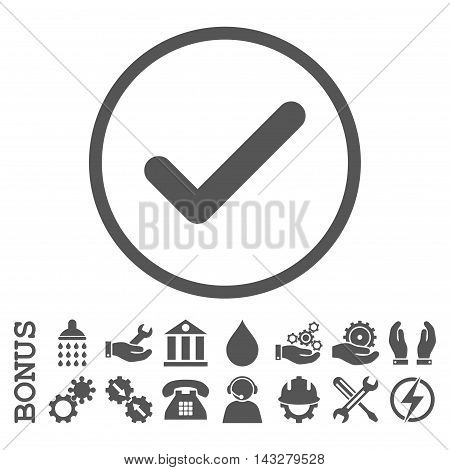 Ok glyph icon. Image style is a flat pictogram symbol inside a circle, gray color, white background. Bonus images are included.