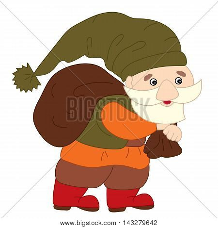 Vector cute little cartoon colorful happy gnome