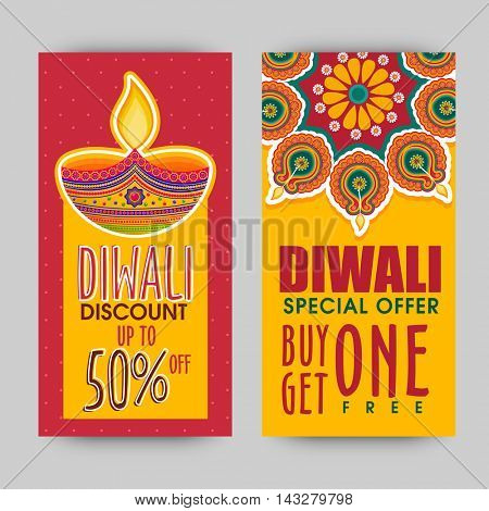 Diwali Special Offer Sale with Discount upto 50%, Website banner set, Traditional festive background with illuminated lamps (Diya), Indian Festival of Lights, Happy Diwali celebration concept.