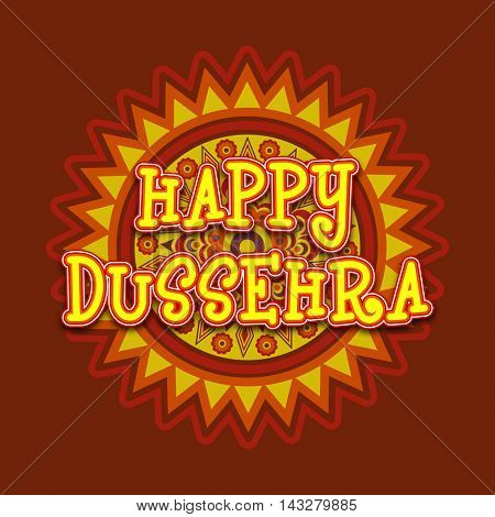 Stylish Text Happy Dussehra on floral design decorated background, Can be used as Poster, Banner or Flyer for Indian Festival celebration.