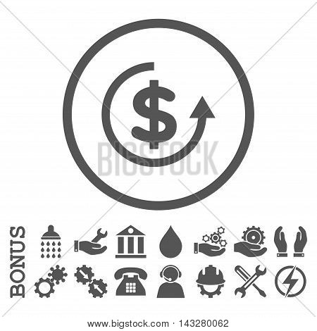 Refund glyph icon. Image style is a flat pictogram symbol inside a circle, gray color, white background. Bonus images are included.