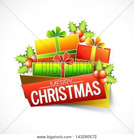 Creative festive background with glossy colorful wrapped gift boxes, mistletoes and paper banners for Merry Christmas celebration.