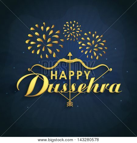 Creative Text Happy Dussehra with bow and arrow on fireworks background, Can be used as Poster, Banner or Flyer design for Indian Festival celebration.