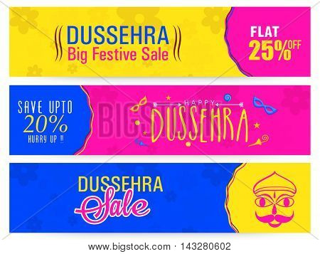 Dussehra Big Festive Sale with Flat Discount Offer, Creative colourful website header or banner set, Indian Festival concept.